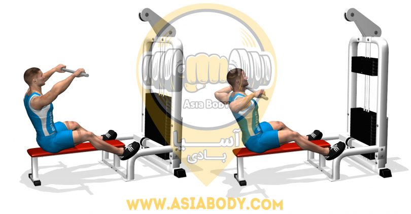 PULL WIDE ARMS AT THE HIGH PULLEY